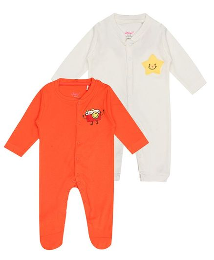 whaou Full Sleeves Camera Patch Pack Of 2 Rompers - Orange & White