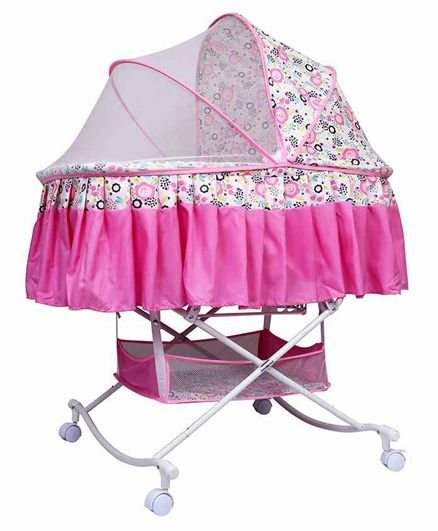 1st Step Rocker cum Bassinet with Storage Floral Print - Pink