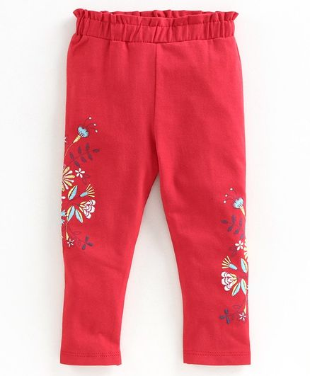 Babyoye Cotton Full Length Leggings Floral Print - Red
