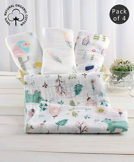 Zoe Premium Organic Muslin Cotton 2 Layer Multipurpose Wrapper Forest Print Pack of 4 - Multicolor