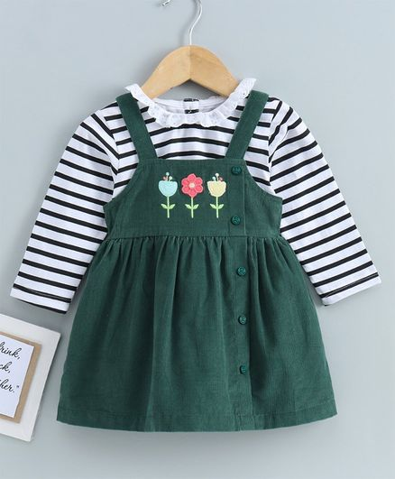 Babyoye Cotton Corduroy Frock With Full Sleeves Stripe Tee Floral Embroidery - Green White