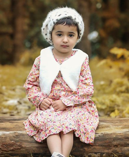 Babyoye Cotton Mix Full Sleeves Frock With Shrug Floral Print - Pink White