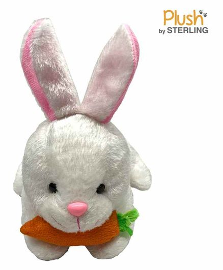 Sterling Rabbit with Carrot Soft Plush Toy White - Length 31 cm