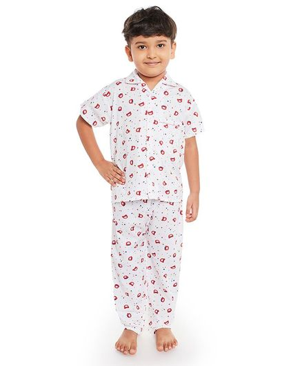 Fuzzy Bear Half Sleeves Printed Night Suit - White & Red