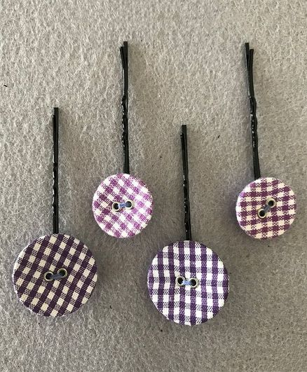 Kalacaree Checked Button Set Of 4 Hair Pins - Multi Color