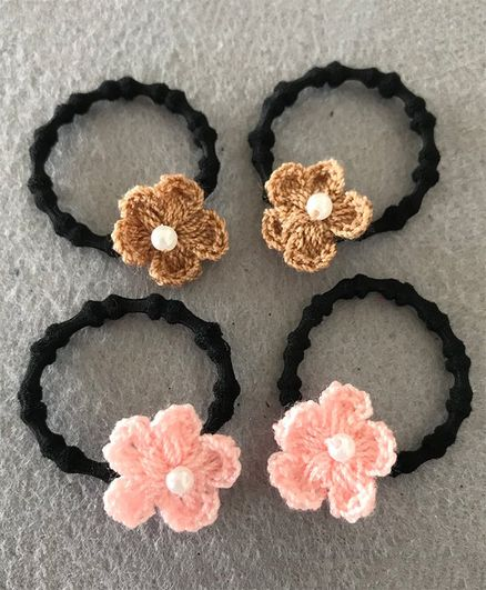 Kalacaree Crochet Flower Set Of 4 Rubber Bands - Brown Pink