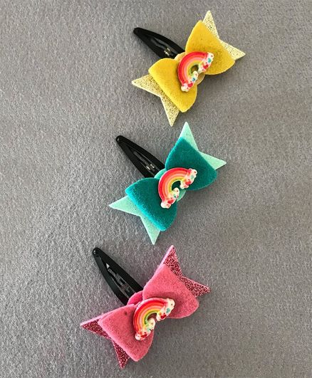Kalacaree Rainbow And Bow Set Of 3 Hair Clips - Multi Color