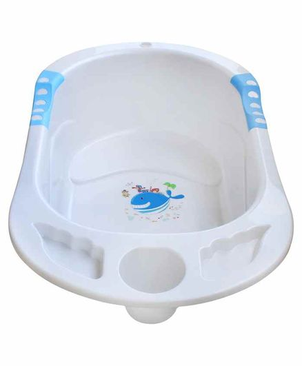 NHR Baby Bath Tub Whale Print - White Blue