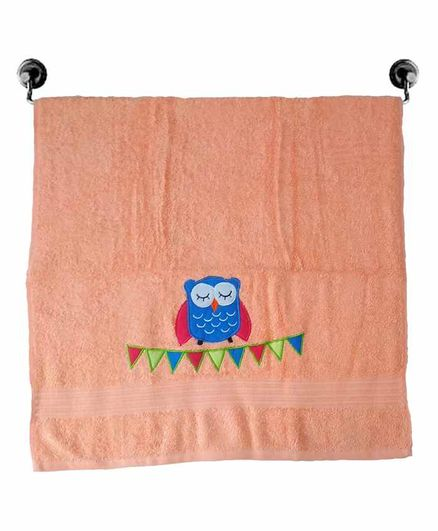 Little Jamun Premium Cotton Bath Towel Owl Embroidered - Peach