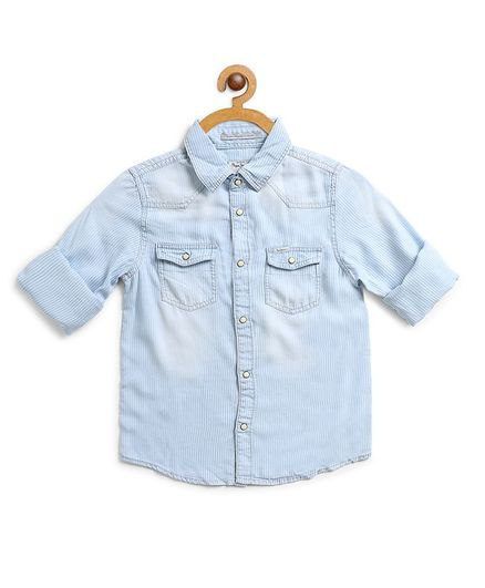 Pepe Jeans Full Sleeves Solid Colour Shirt - Light Blue