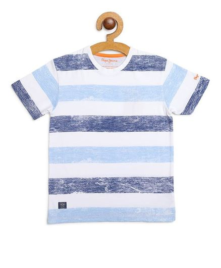 Pepe Jeans Half Sleeves Striped Tee - Blue