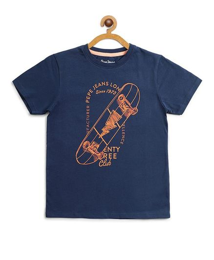 Pepe Jeans Half Sleeves Skater Board Printed Tee - Navy Blue