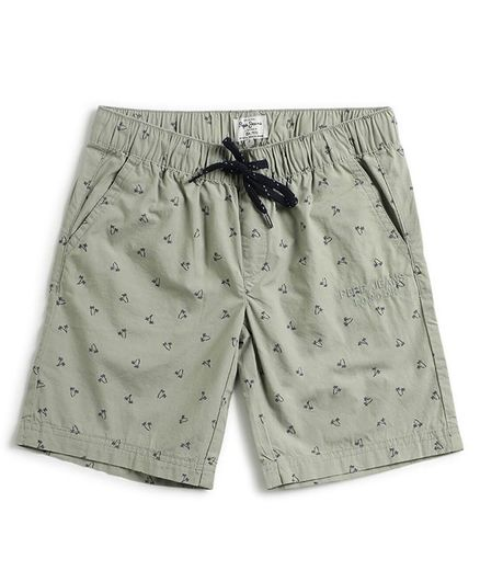 Pepe Jeans Palm Tree Print Shorts - Green