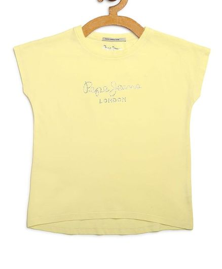 Pepe Jeans Cap Sleeves  Graphic Print Tee - Yellow