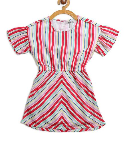 Pepe Jeans Short Sleeves Striped Dress - Red