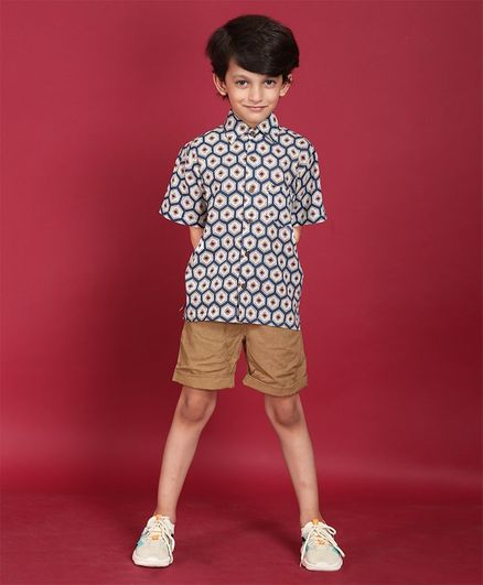 Ikeda Designs Geometrical Print Half Sleeves Shirt - Blue
