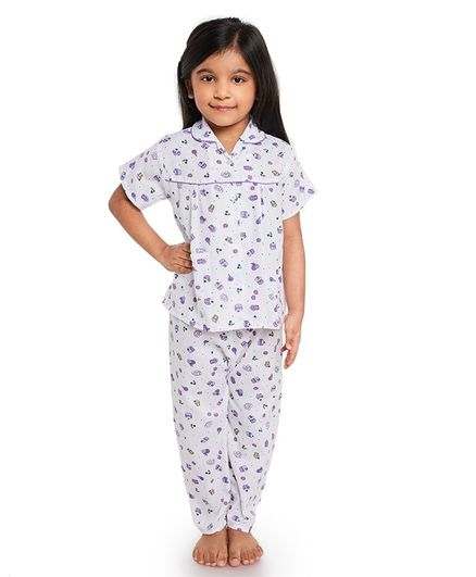 Fuzzy Bear All Over Cupcake Printed Half Night Suit - White & Purple