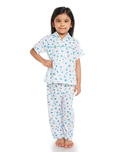Fuzzy Bear All Over Cupcake Printed Half Night Suit - White & Blue