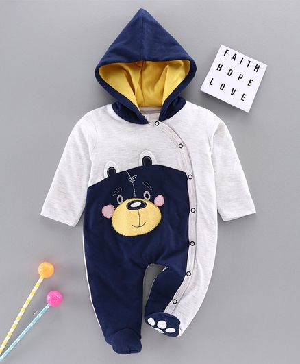 Little Folks Full Sleeves Hooded Footed Romper Monkey Embroidery - Grey Navy Blue