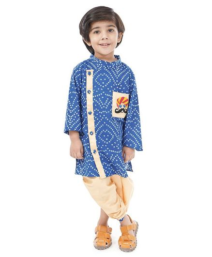 Babyoye Cotton Full Sleeves Kurta & Dhoti Set Bandhani Pattern & Embroidery - Blue
