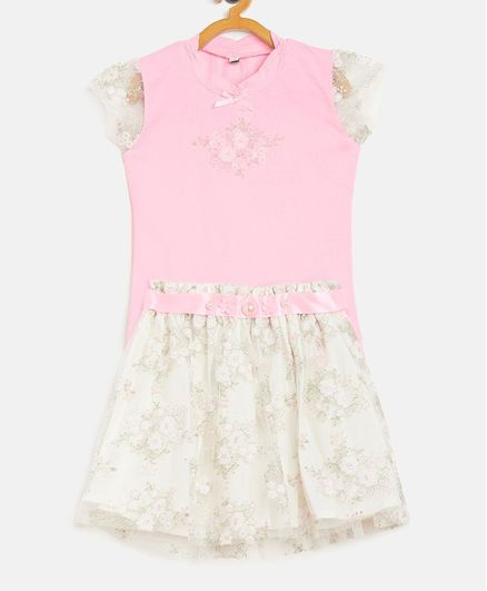 Peek a boo Cap Sleeves Flower Print Top With Netted Skirt Set - Pink