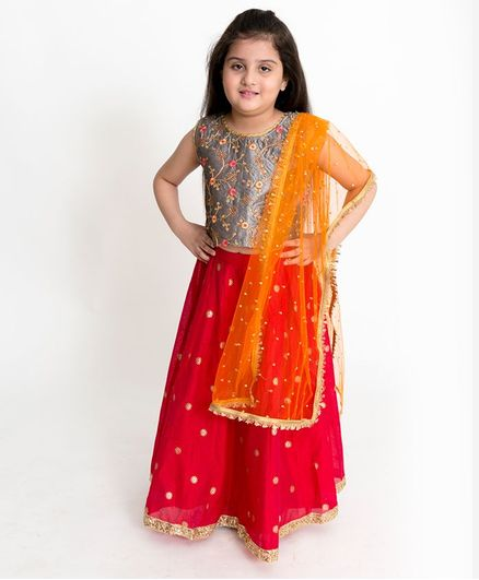 Lil Peacock Sleeveless Flower Embroidered Choli With Lehenga & Net Dupatta - Grey & Red