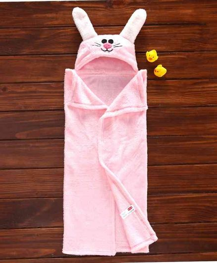 Babyhug Hooded Embroidered Velour Towel  - Pink