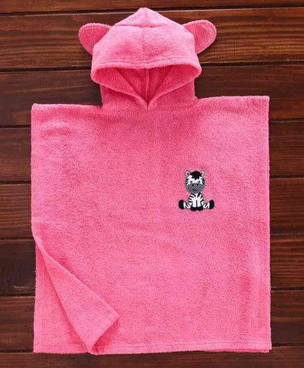 Babyhug Towel Poncho With Hood Zebra Patch - Pink