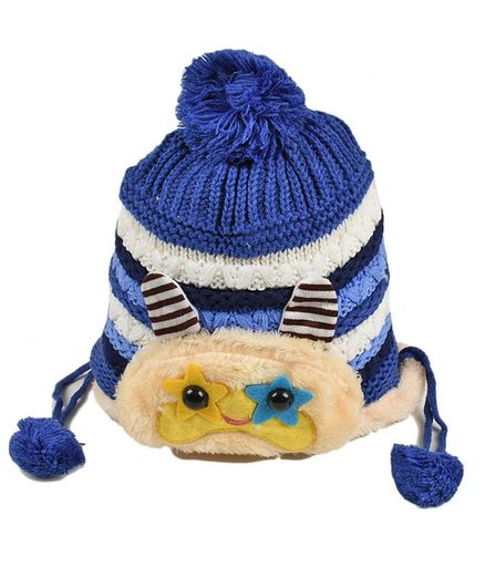 Tiekart Striped Woolen Cap For Kids - Blue