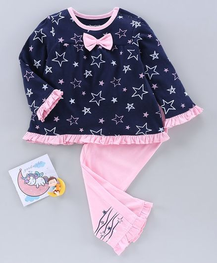 Babyoye Full Sleeves Night Suit Star Print - Navy Blue Pink