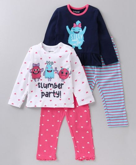 Babyoye Supima Cotton Full Sleeves Night Suit Multi Print Pack of 2 - Blue Pink