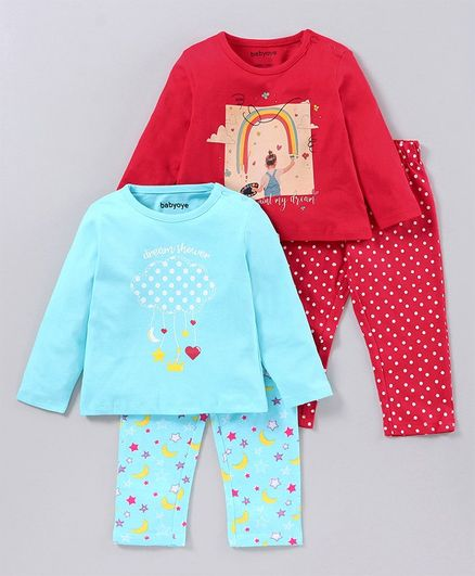 Babyoye Full Sleeves Night Suits Multi Print Set of 2 - Red Blue