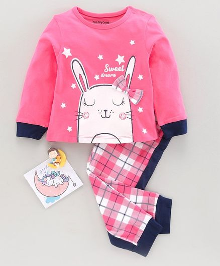 Babyoye Supima Cotton Full Sleeves Night Suit Bunny Print  - Blue Pink