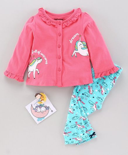 Babyoye Full Sleeves Night Suit Unicorn Print - Pink Blue