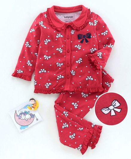Babyoye Cotton Full Sleeves Anti Bacterial  Night Suit Bow Print - Red