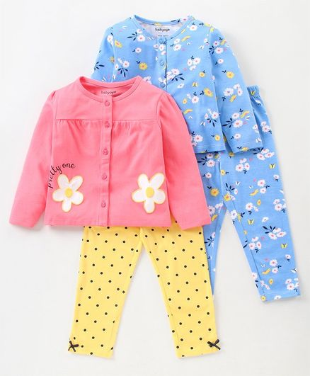 Babyoye Full Sleeves Night Suits Floral Print Set of 2 - Pink Blue
