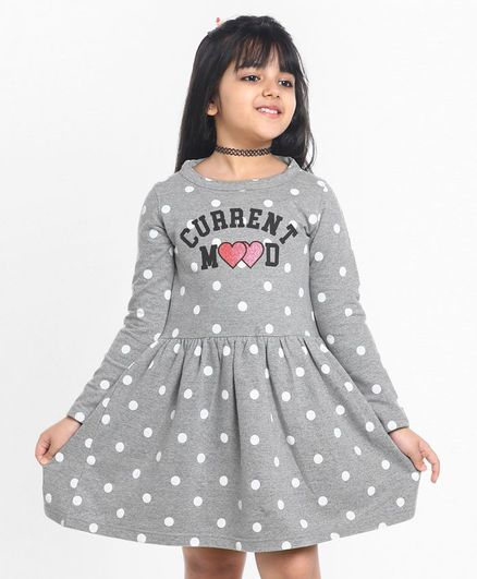 Pine Kids Full Sleeves Biowashed Frock Polka Dot Print - Grey