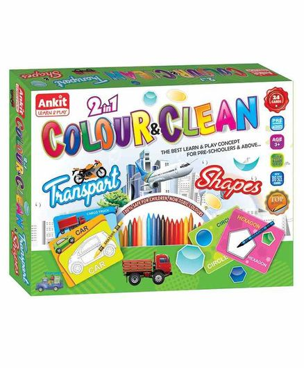 Ankit Toys 2 in 1 Transport & Shapes Theme Colour & Clean Kit - 24 Cards