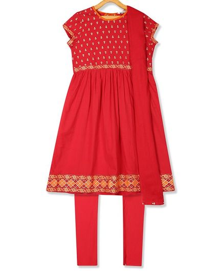 Karigari Short Sleeves Printed Kurta With Churidar & Dupatta - Red