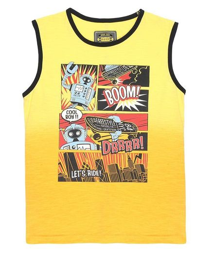 GINI & JONY Sleeveless Boom Printed Sando - Yellow