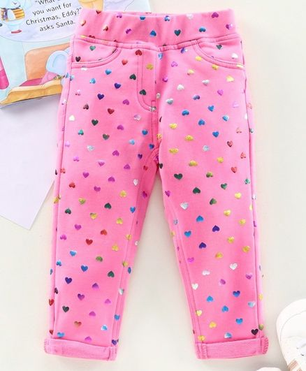 Little Kangaroos Full Length Jeggings Heart Print - Pink