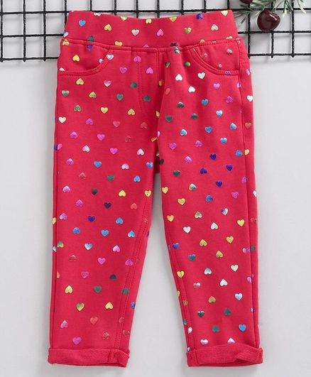 Little Kangaroos Full Length Jeggings Heart Print - Coral Red