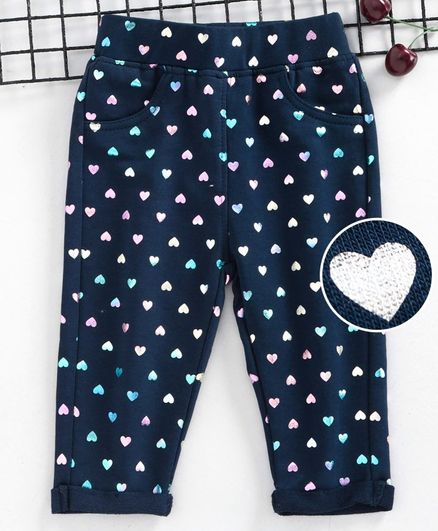 Little Kangaroos Full Length Jeggings Heart Print - Navy Blue