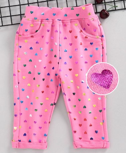 Little Kangaroos Full Length Jeggings Heart Print - Light Pink