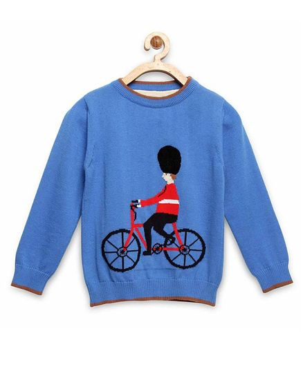 Cherry Crumble By Nitt Hyman Full Sleeves Cycling Design Sweater - Blue