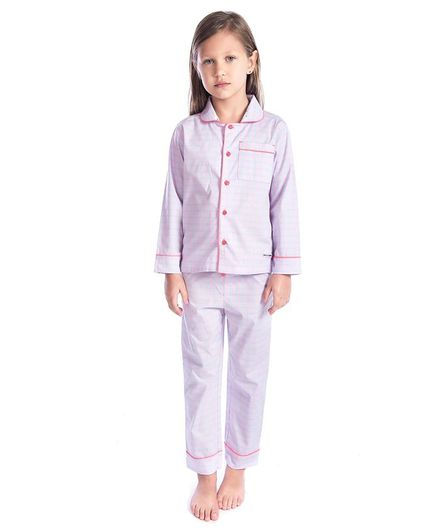 Cherry Crumble By Nitt Hyman Full Sleeves Checkered Night Suit - Light Pink