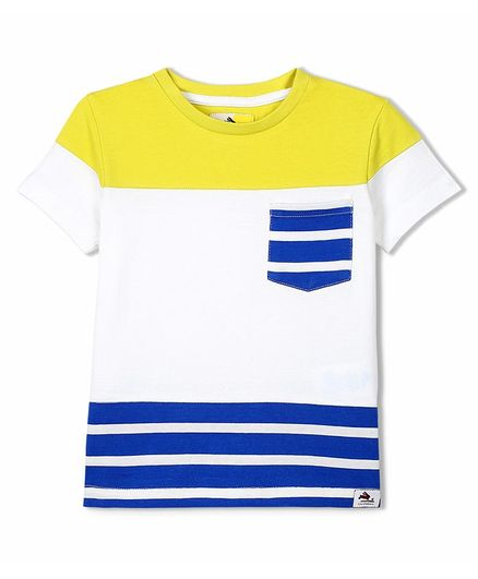 Cherry Crumble By Nitt Hyman Half Sleeves Striped T-Shirt - Yellow