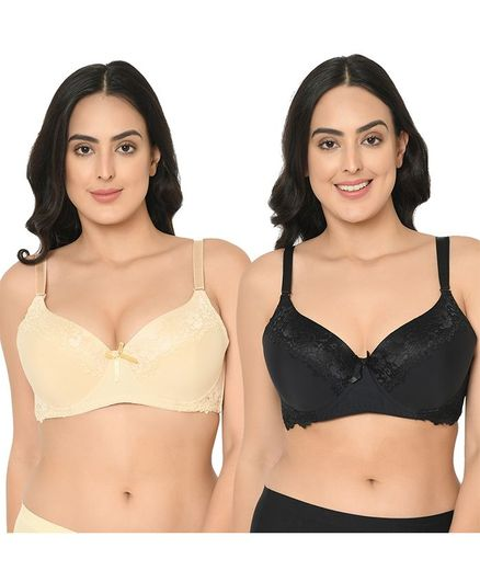 Curvy Love Pack Of 2 Lace Crafted Plus Size Bra - Beige Black
