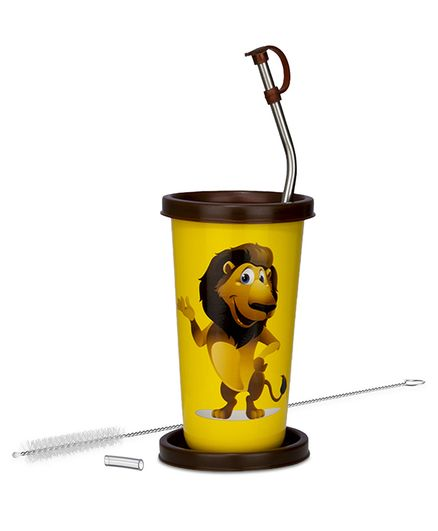 Falcon We Bare Bears Stainless Steel Straw Sipper Yellow - 370 ml