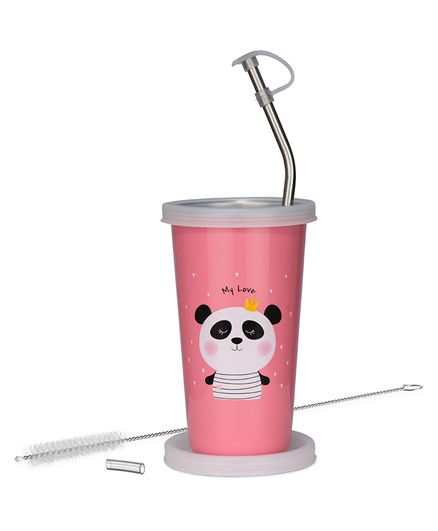Falcon We Bare Bears Stainless Steel Straw Sipper Pink - 370 ml